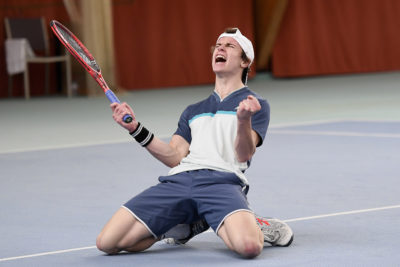 Grosser Jubel bei Evan Furness, Sieger des Tennis Pro-Open Aargau