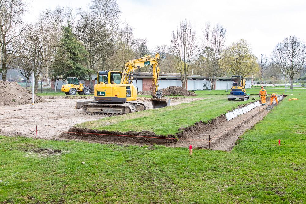 Die Bauarbeiten für die Beachanlage in Aarau laufen