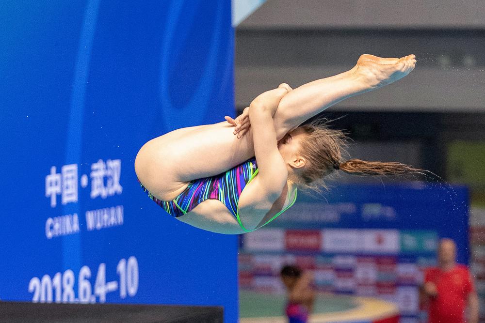 Wasserspringerin Michelle Heimberg in Aktion