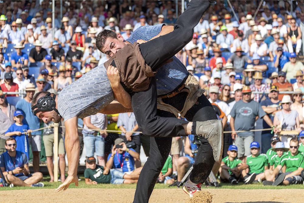 Schwinger Andreas Döbeli während eines Kampfs