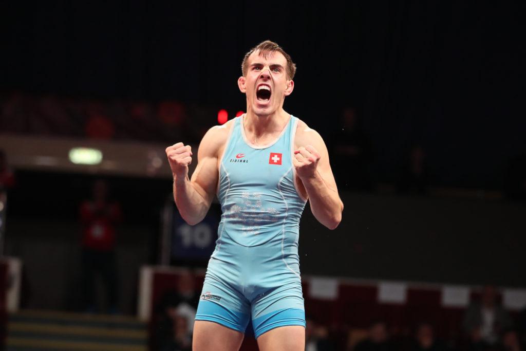 Grosser Jubel bei Ringer Randy Vock nach dem Gewinn der EM-Bronzemedaille