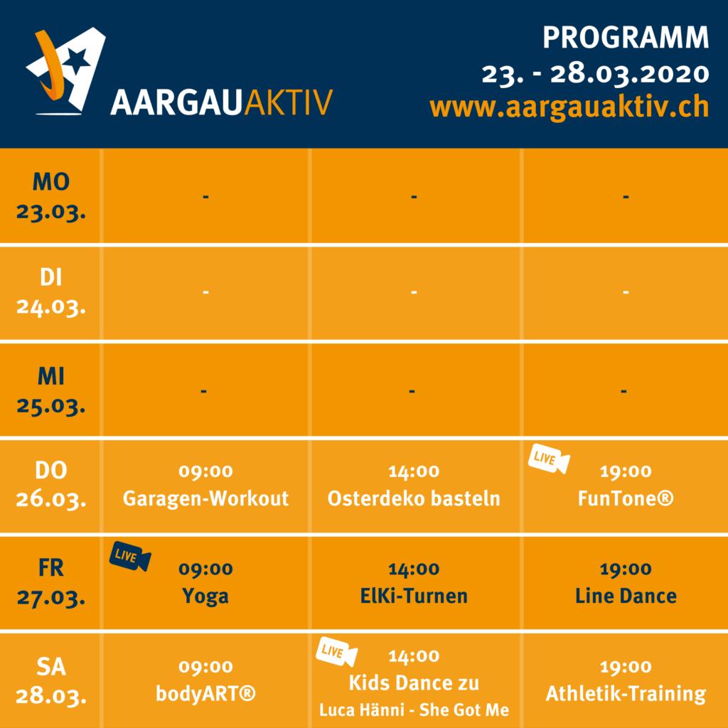 Wochenplan «Aargau Aktiv»