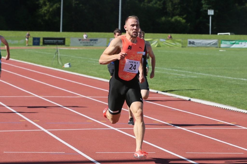 Sprinter Silvan Wicki beim Zieldurchlauf