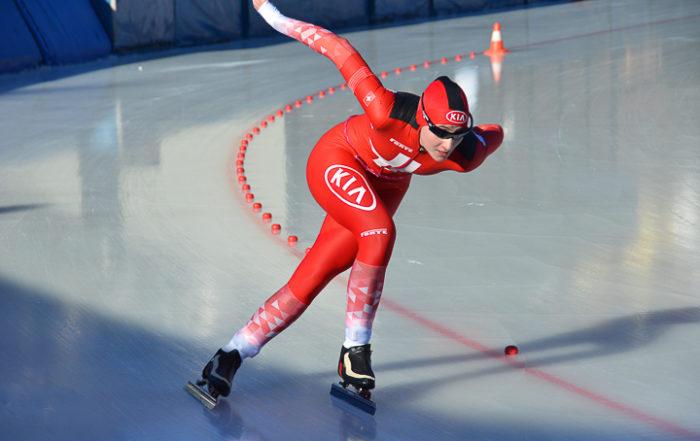 Eisschnellläuferin Ramona Härdi im Einsatz